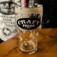 Craft Pride beer brew empty glass Austin bar Rainey Street