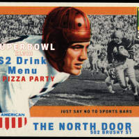poster for North Door Say no to sports bars Super Bowl watch party