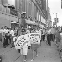 photo of protestors from 1968 exhibit at Bullock museum
