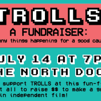 Trolls film move fundraising event North Door poster CROPPED July 2015