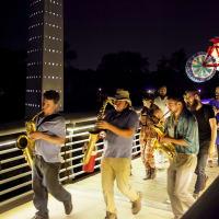 News, Shelby, Buffalo Bayou Park opening, Oct. 2015, night procession