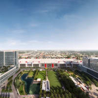Houston, George R Brown revamp, September 2015, aerial view