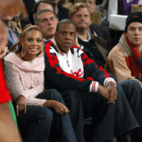 Beyonce and Jay Z courtside