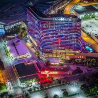 Omni Dallas hotel aerial at night