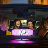 lyft riders in car