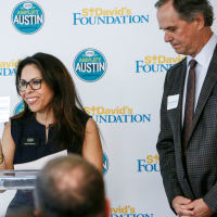 Celeste Flores, I Live Here I Give Here and Peter Pinoffs, Board Chair St. David's Foundation