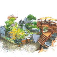 Heights Village development sunken garden drawing