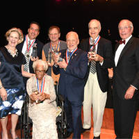 Flight Museum Gala Hall of Fame inductees Daisey White Azelia White Buzz Aldrin John Nau Jeff Lovell Mark Braniff Ira Gruber