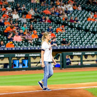 Kendra Scott Astros first pitch Minute Maid Park