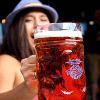 Karbach Oktoberfest Karbachtoberfest girl with beer