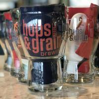 Hops & Grain pint glass