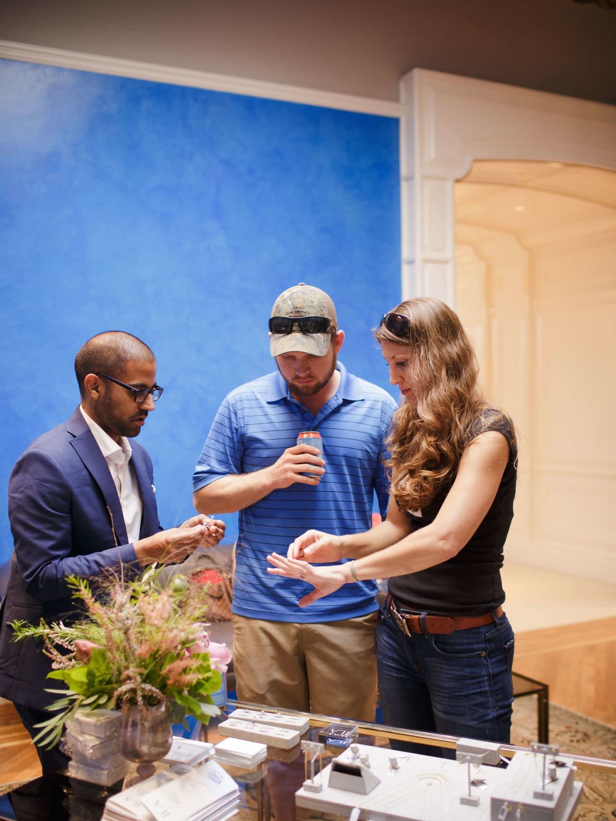 BHLDN ILA engagement event Vikas Sodhani helps a couple pick out a ring