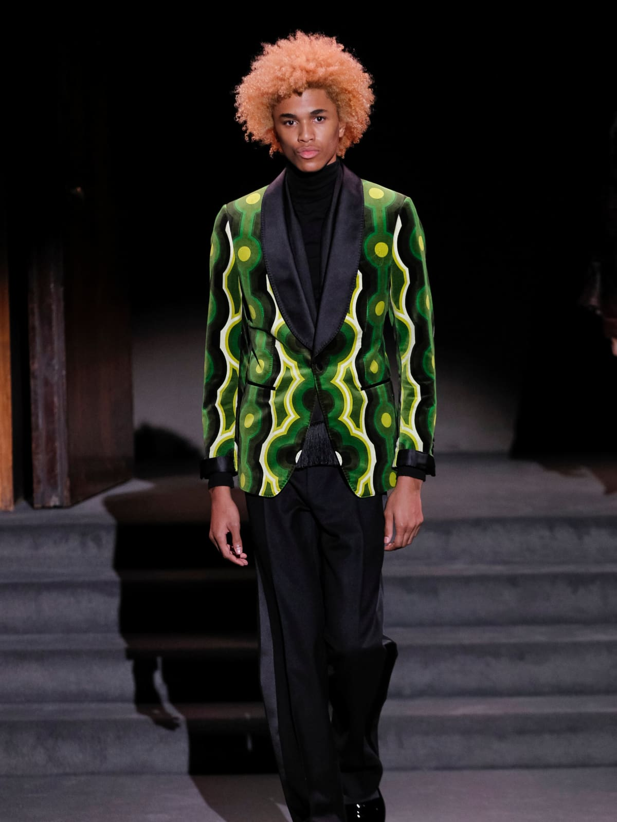 Tom Ford green patterned coat