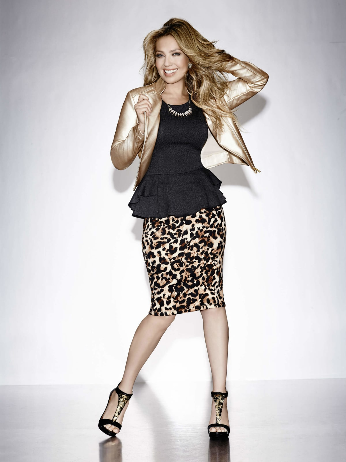 Thalia gold jacket, leopard skirt at Macy's