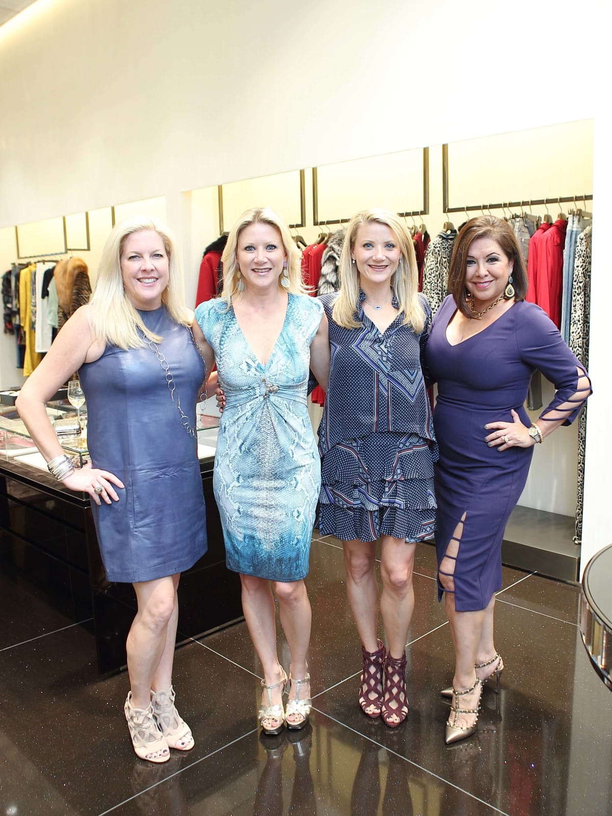 Kara Kinder Vidal, Stacey Soriero, Stephanie Cockrell, Debbie Festari at Cavalli kickoff luncheon for Una Notte de Italia
