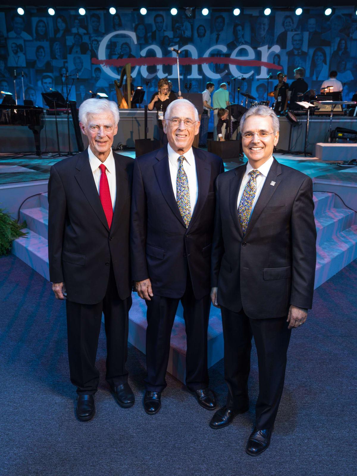 Charles LeMaistre, John Mendelsohn, Ron DePinho at MD Anderson 75th anniversary gala