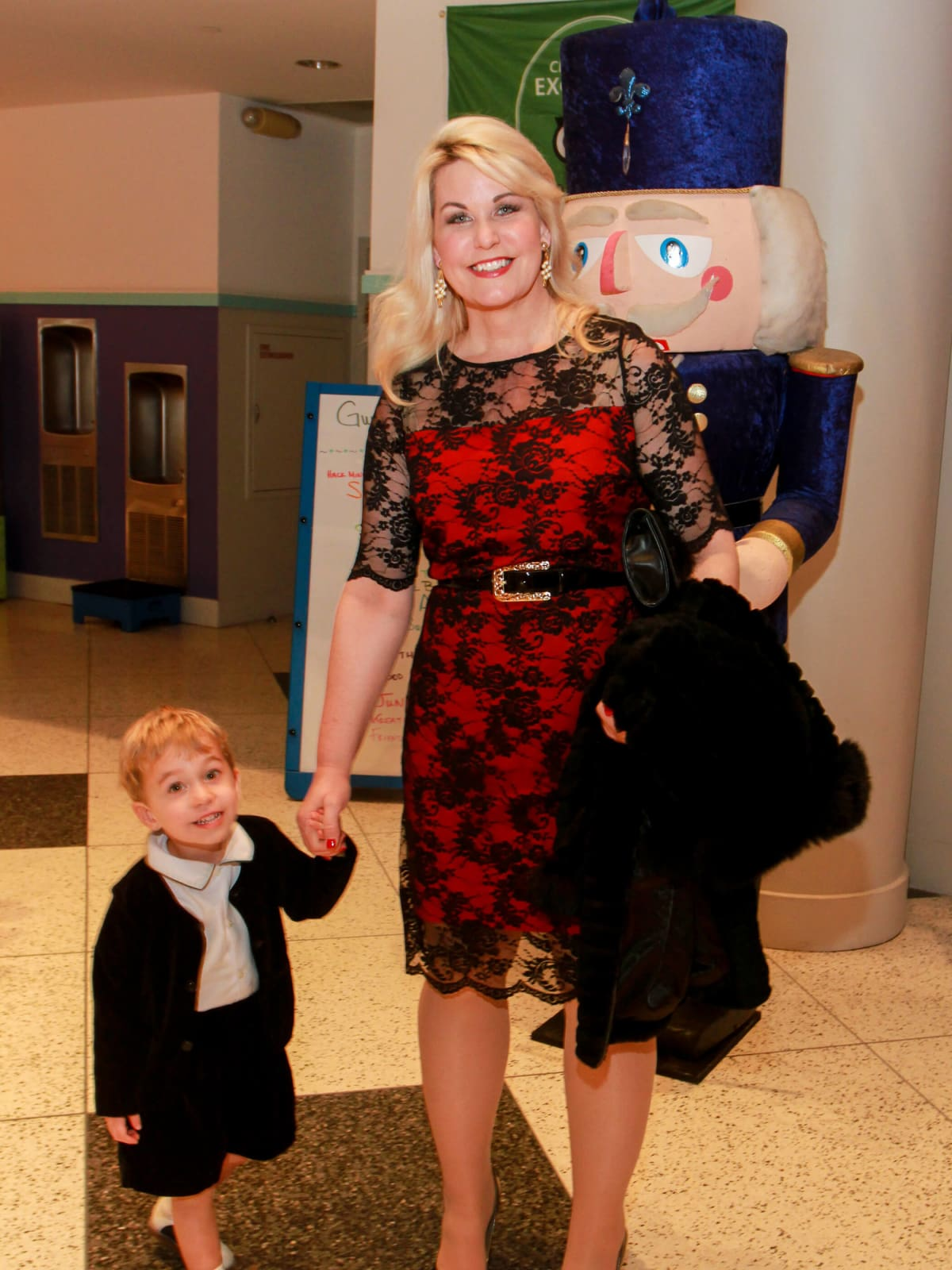 Children's Museum holiday party, Stephanie Von Stein and child