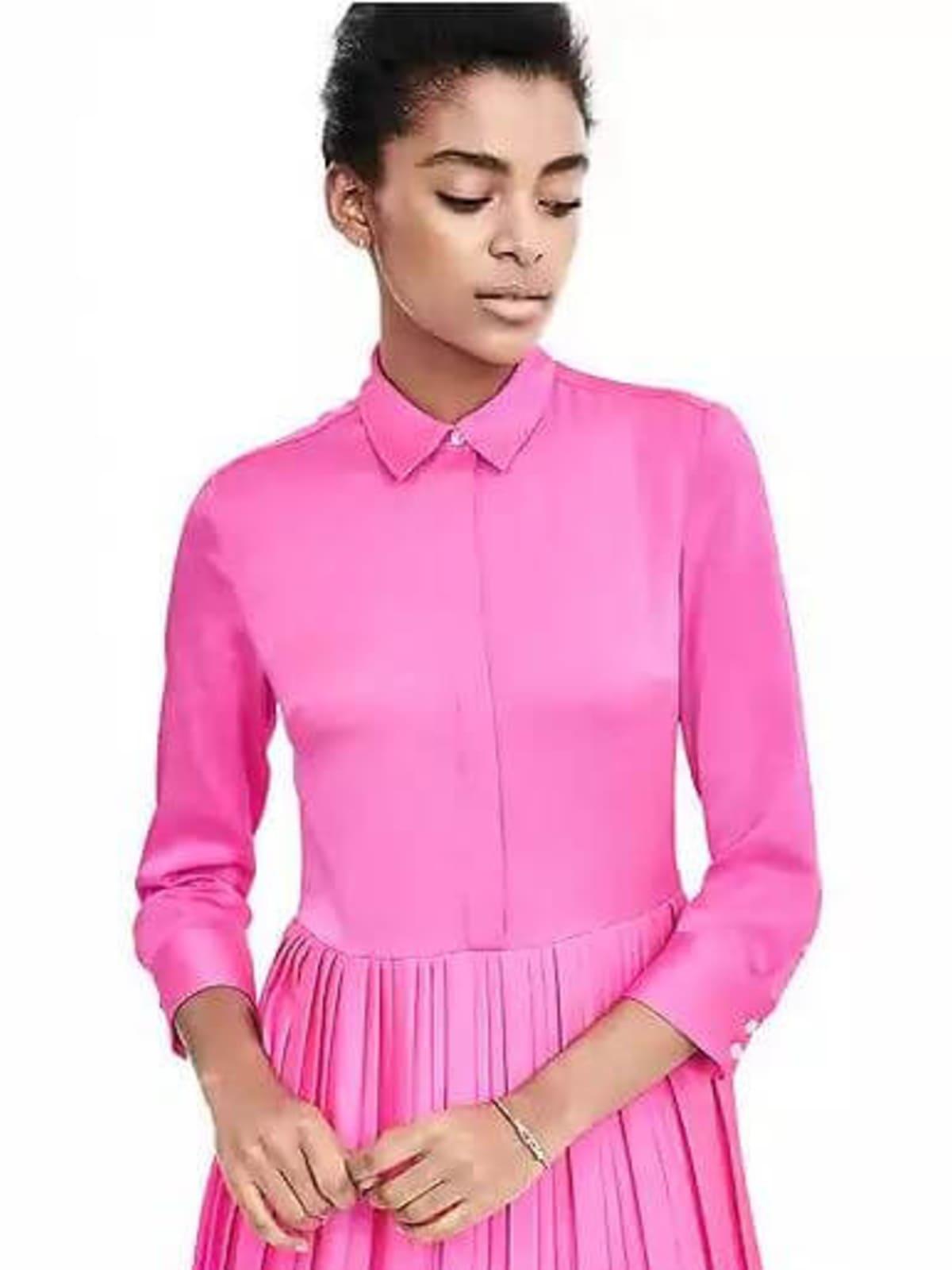 Pleat-Skirt Shirtdress