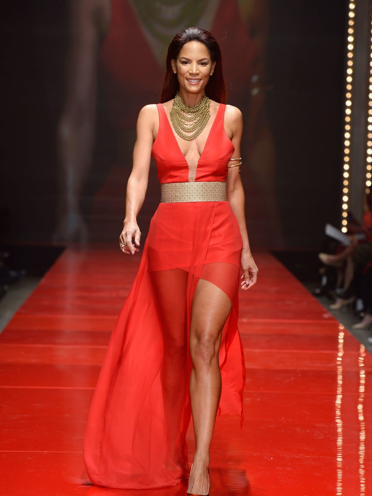 Model Veronica Webb walks the runway at the American Heart Association's Go Red For Women Red Dress Collection 2017