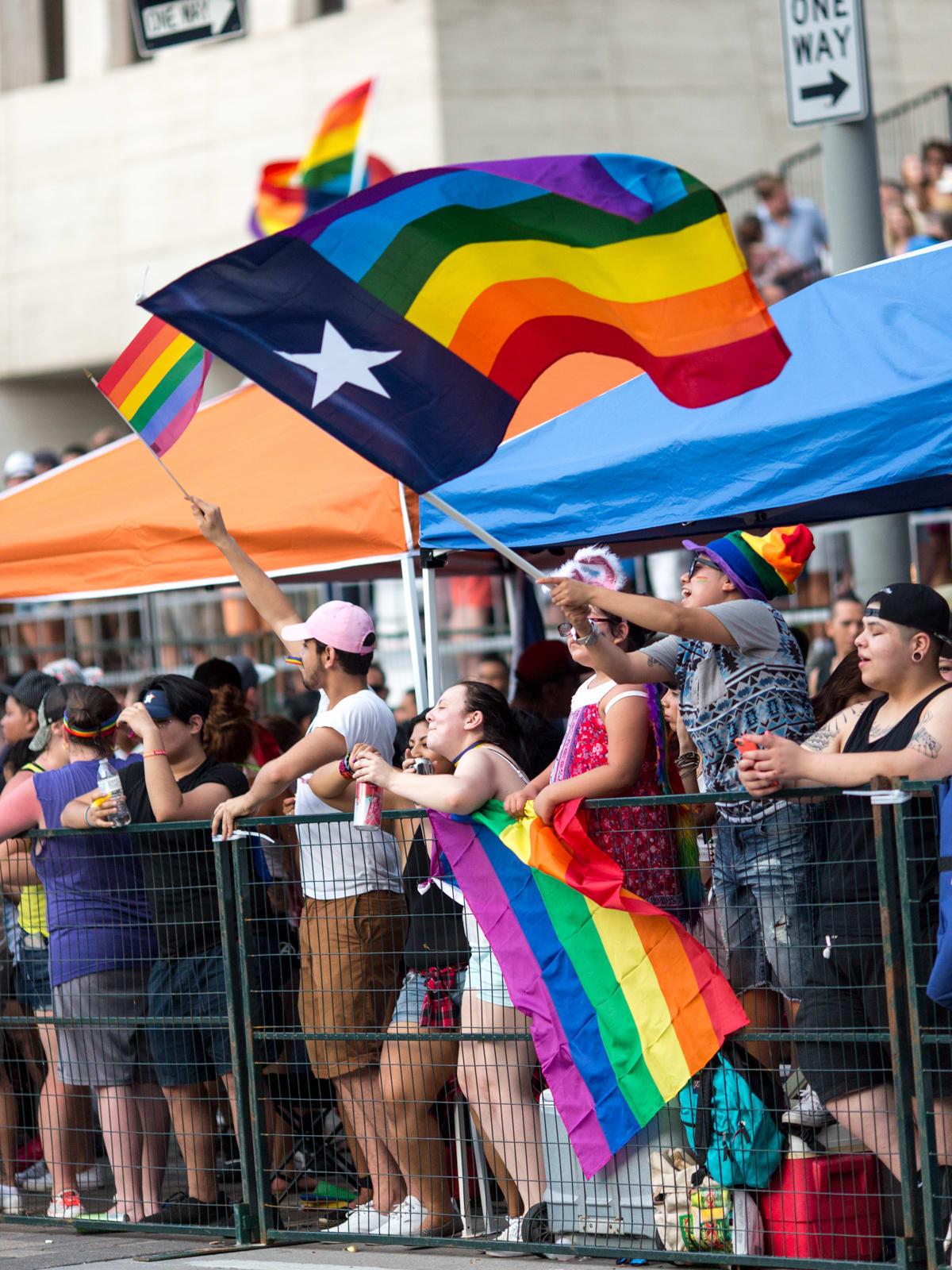 Houston Pride Parade 2016 flag waving