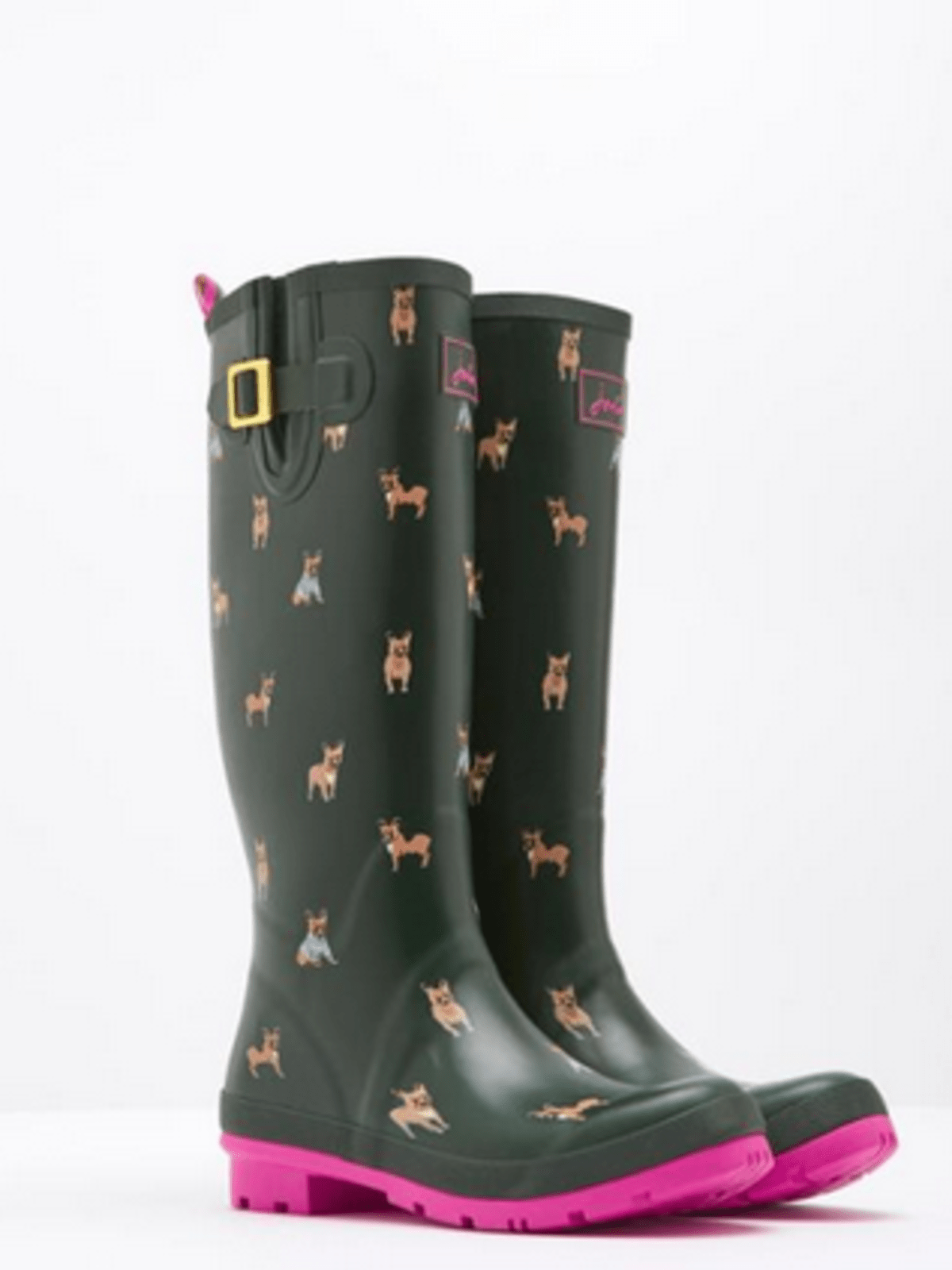 Wellyprint Olive Bulldog Rain Boots, $74.95