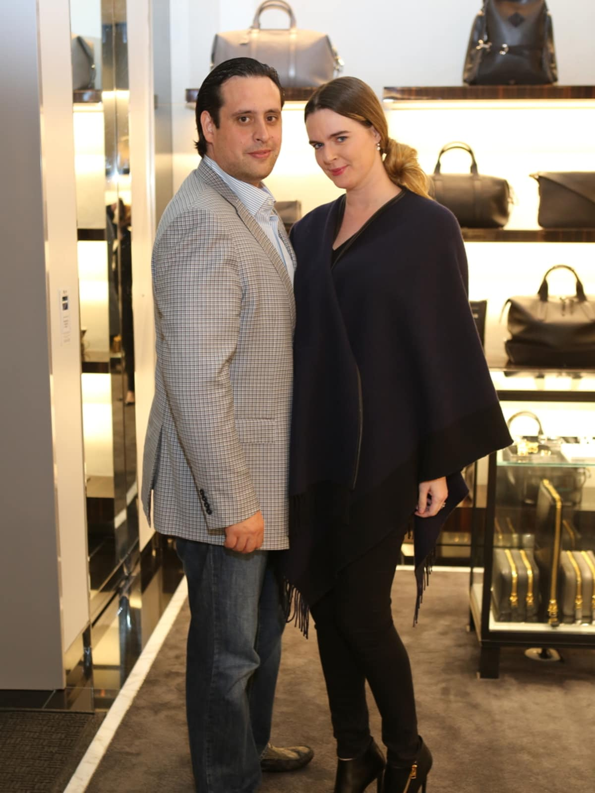 Luis Sanchez Bauer, Eloise Frischkorn Bauer at Blue Cure party at Tom Ford