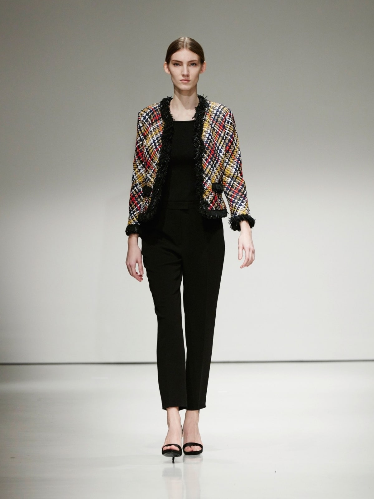 Escada woven plaid jacket and black jumpsuit