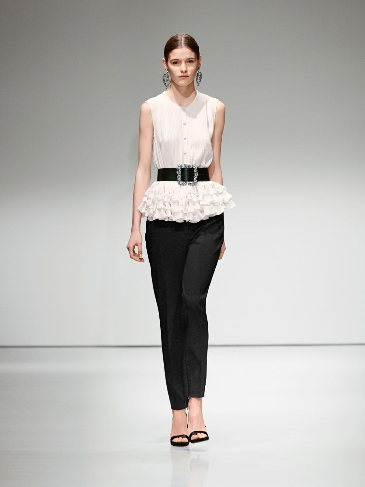 Escada black slacks white peplum top
