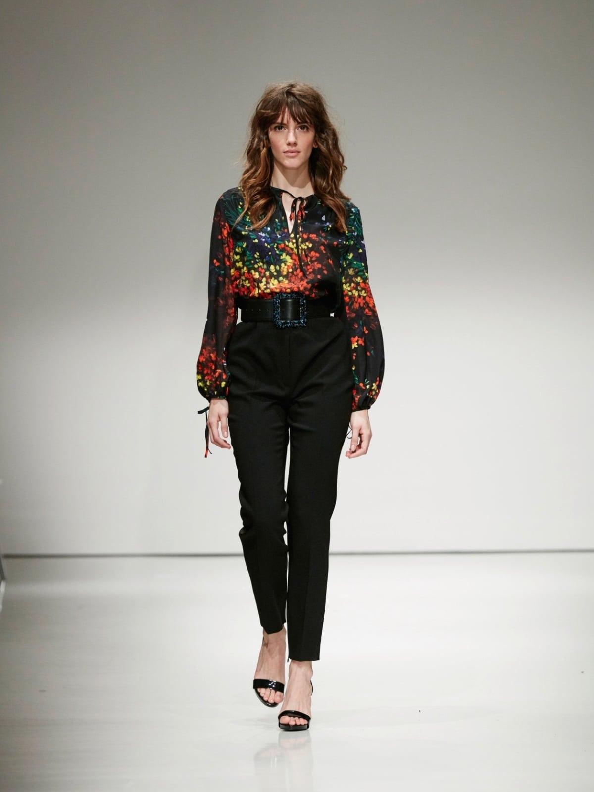 Escada Silk Flower Print Top and High Waist Pant