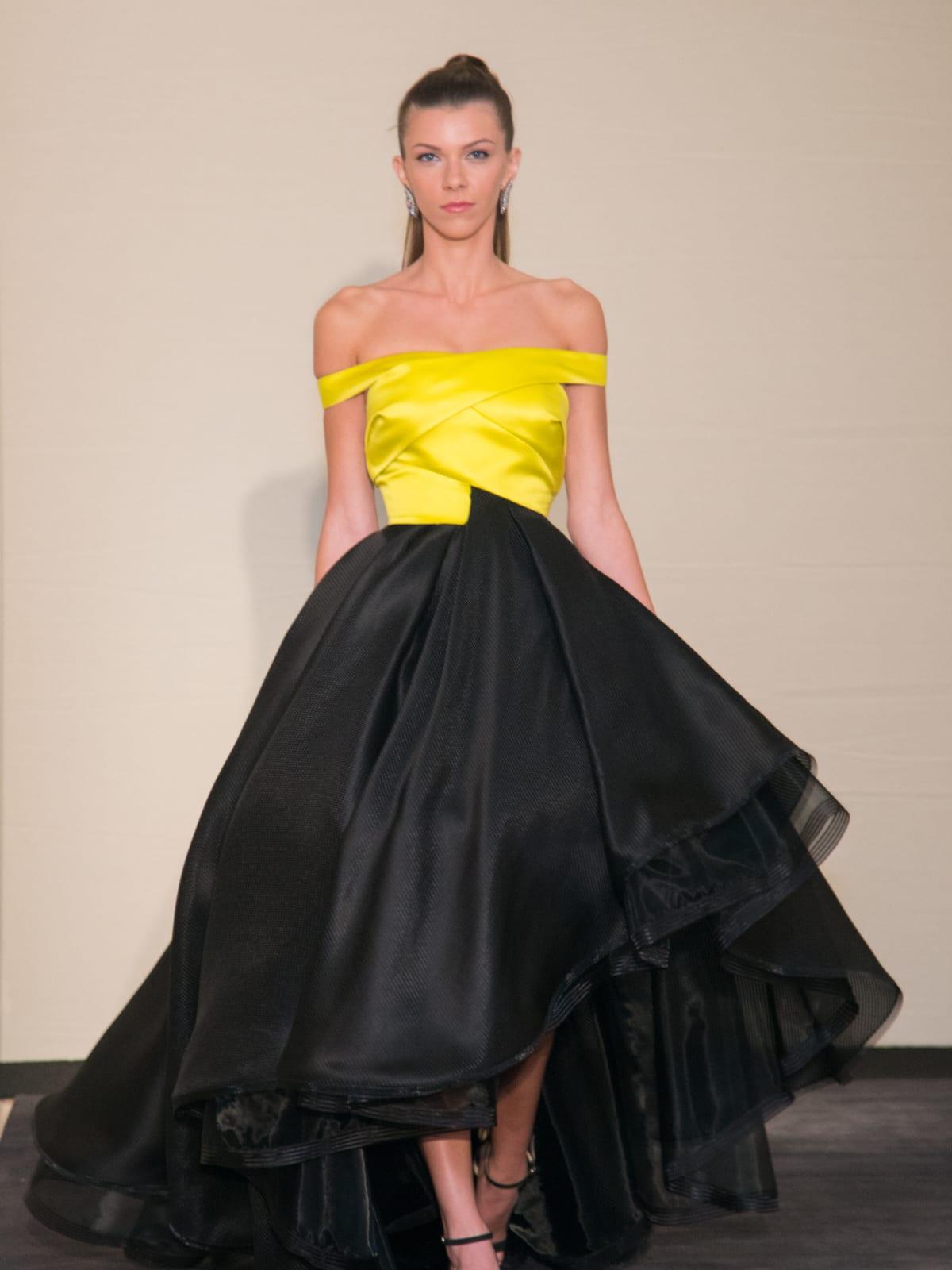 Rubin Singer Dress for Dinner model in yellow and black dress