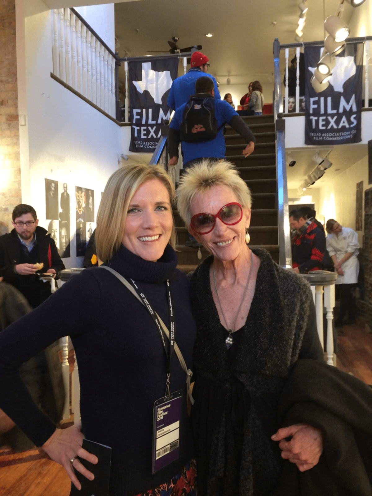 Jessica Christopherson, Deborah Grotfeldt at Film Texas reception at Sundance Film Festival