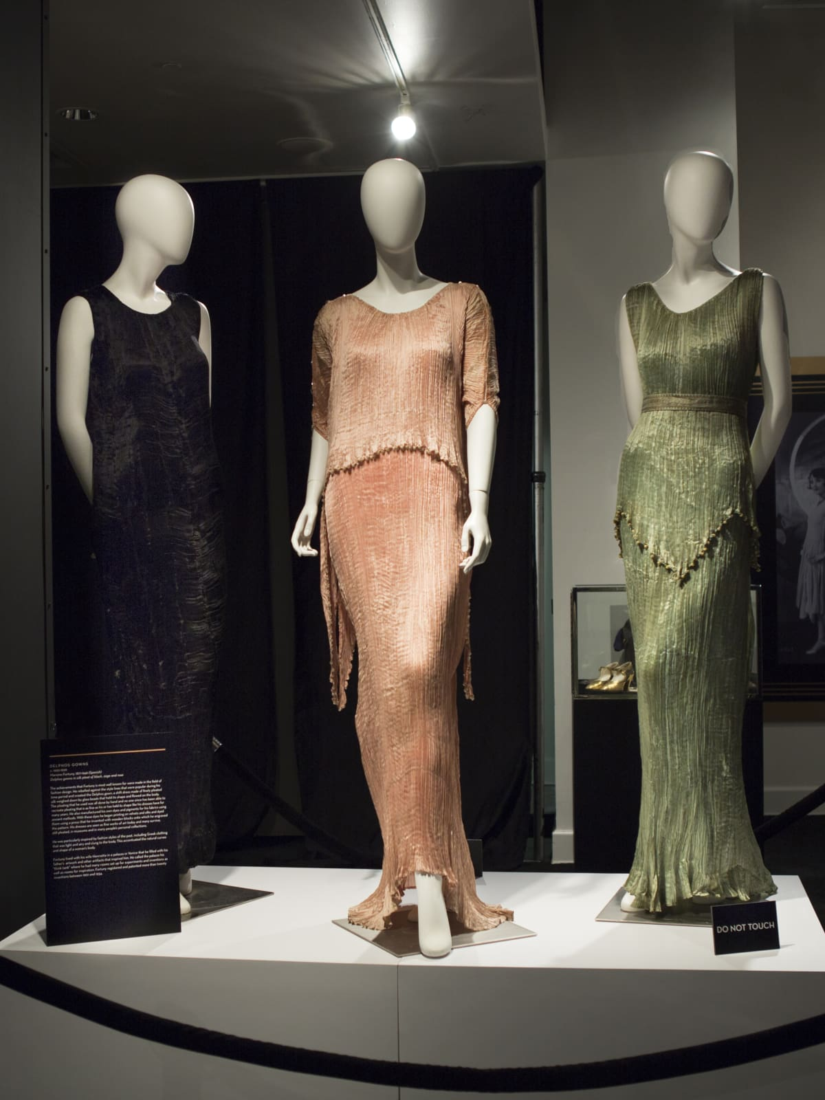 Fortuny dresses at Galleria Dallas Decadence exhibit