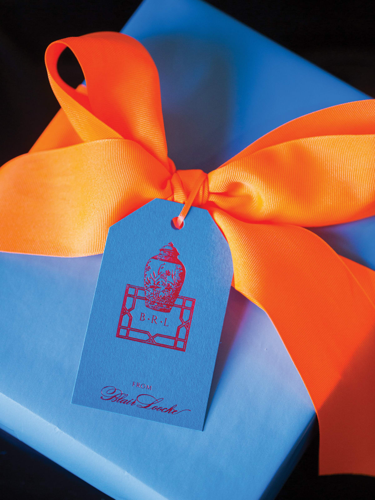 Monogrammed gift tag