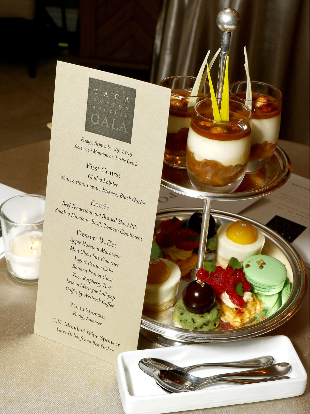 Menu and Assorted Desserts