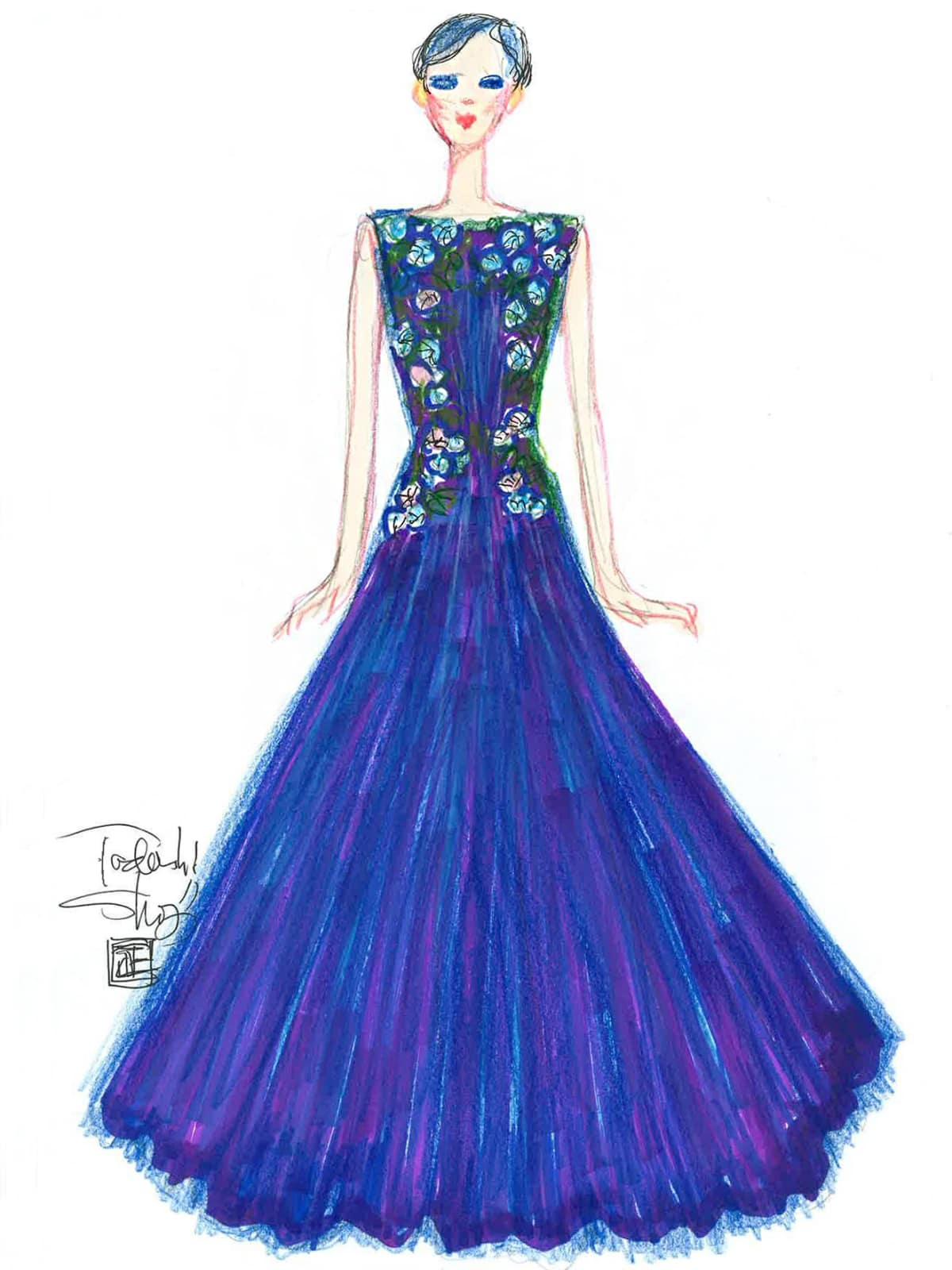 Tadashi Shoji inspiration sketch New York Fashion Week spring 2016