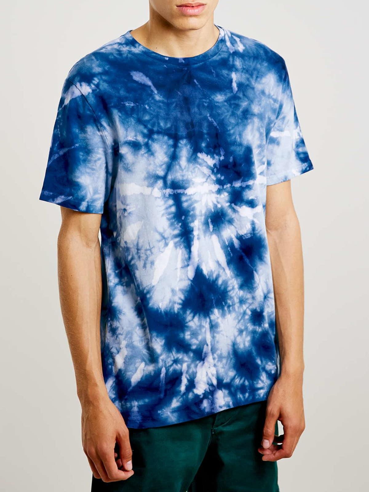 Topman blue tiedye slim fit tee $25