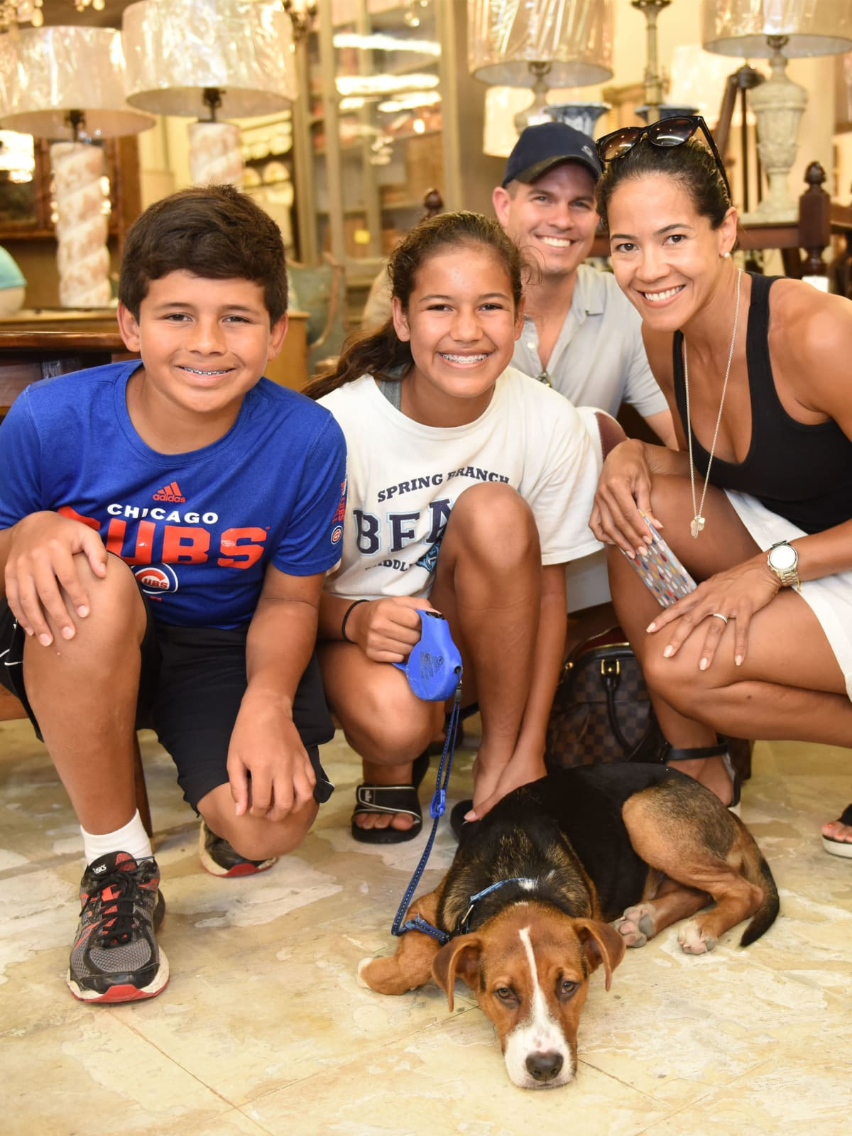 News, Shelby, Barks & Bubbles, Memorial Antiques, July 2015, Romero Family and pooch Harper