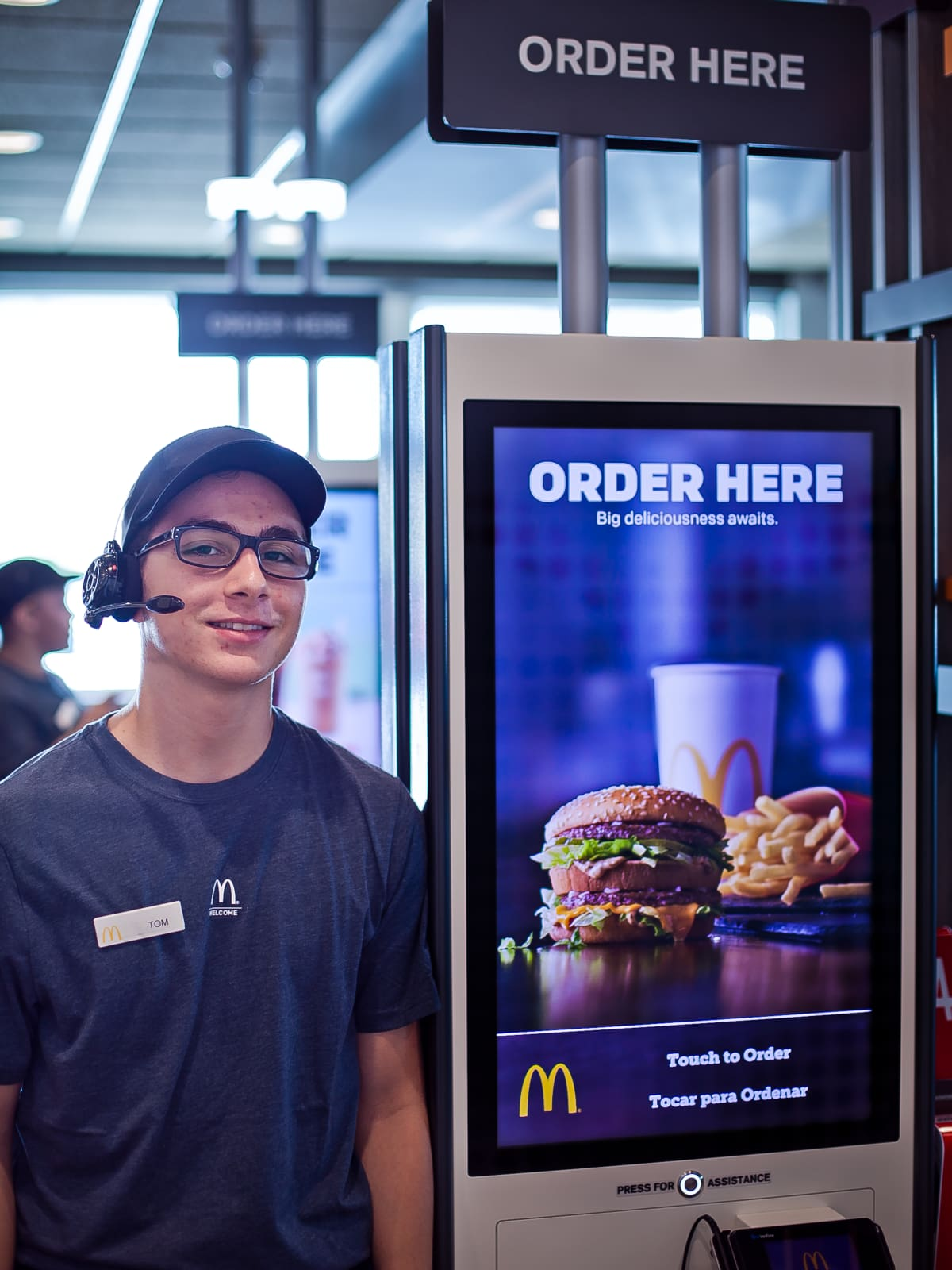 Houston, McDonald's Experience of the Future in Katy, June 2017, kiosk and worker