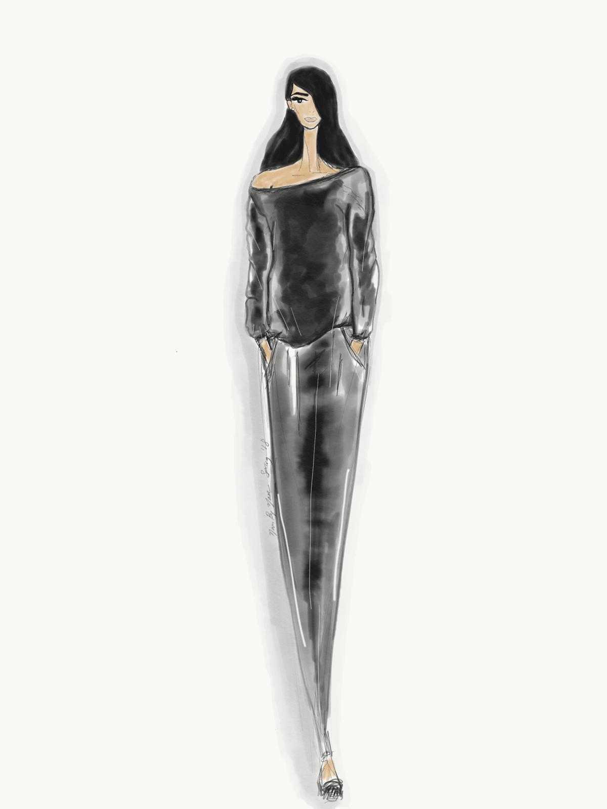 Noor By Noor designer inspiration sketch spring 2018