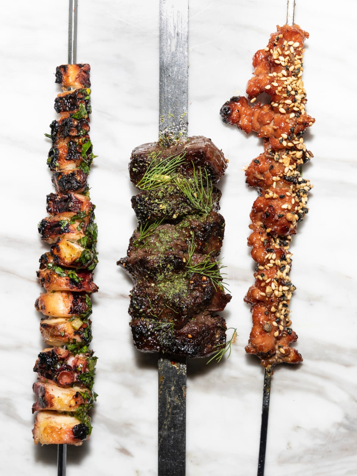 One Fifth Mediterranean Octopus; Flat iron with carob molasses; Lamb sweetbreads with date molasses and peanut dukkah