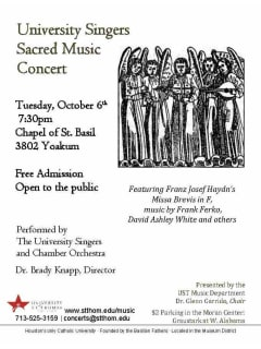 University of St. Thomas University Singers Sacred Music Concert