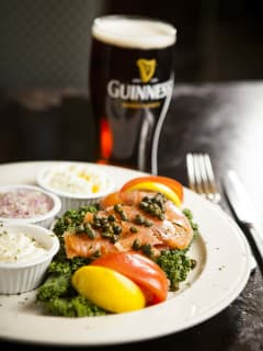 Smoked salmon and Guinness at Trinity Hall Pub in Dallas