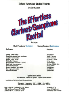 The Tenth Annual The Effortless Clarinet/Saxophone Recital