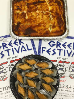 Houston, Greek Fest 2015, September 2015, pastichio and baklava
