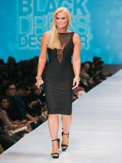 50 Fashion Houston Night 1 November 2014 Little Black Dress designers Theresa Roemer wearing Little Black Dress designer Daniel Amaya