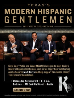 flyer for Ketel One Vodka Texas's Modern Hispanic Gentlemen happy hour