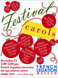 flyer for festival of carols at French Legation Museum