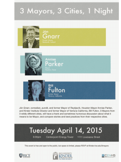 """Kinder Institute for Urban Research presents """"3 Mayors, 3 Cities, 1 Night"""""""