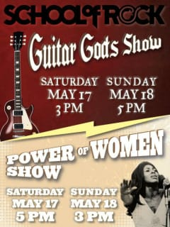 Austin School of Rock poster Guitar Gods and Power of Women