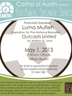 Flyer for Words of Hope speaker series by Caritas with Luma Mufleh